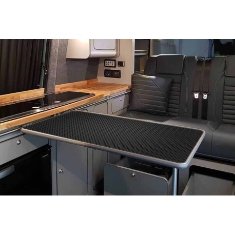 BLACK AND GREY HOLED RECTANGULAR TABLE